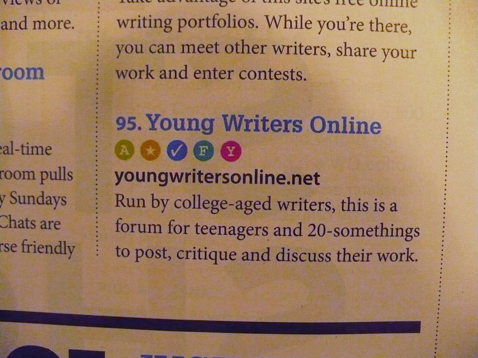 the world in the satin bag page  young writers online is a writer s digest 101 best websites for writers